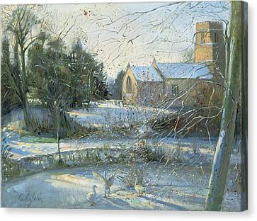 The Frozen Moat, Bedfield  Canvas Print by Timothy Easton