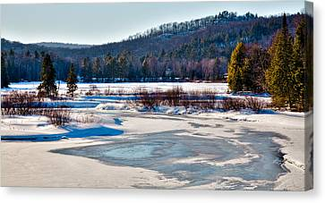 The Frozen Moose River II - Old Forge New York Canvas Print by David Patterson