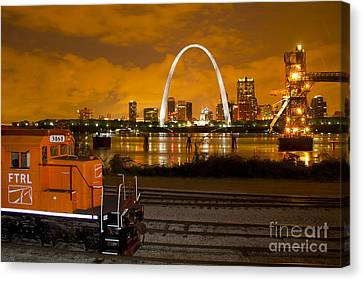 The Ftrl Railway With St Louis In The Background Canvas Print by Garry McMichael