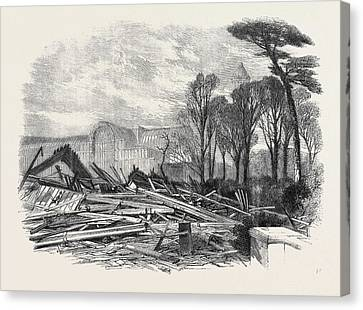 Stormy Weather Canvas Print - The Gale Of Last Week Ruins Of The North Wing Of Sydenham by English School