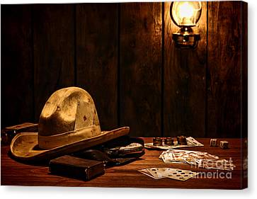 Cowboy Hat Canvas Print - The Gambler by Olivier Le Queinec