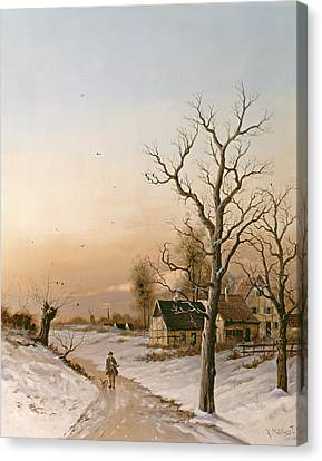 Country Lanes Canvas Print - The Gamekeeper Going Home by F Muller