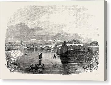 The Ganges Canal At Roorker India 1854 Canvas Print by Indian School