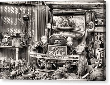 The Garage Sale Black And White Canvas Print