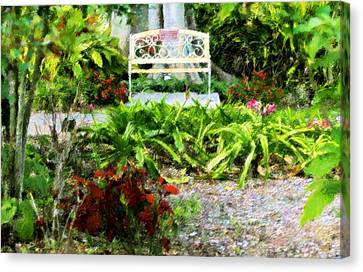 The Garden Bench Canvas Print by Florene Welebny