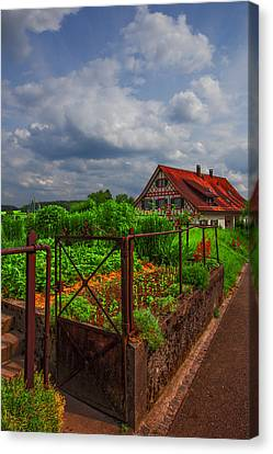The Garden Gate Canvas Print by Debra and Dave Vanderlaan