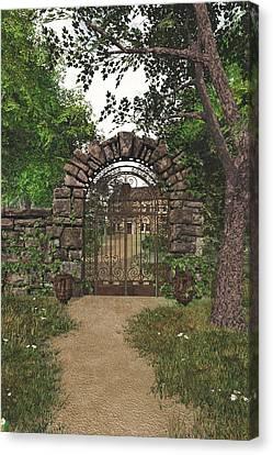 Canvas Print featuring the digital art The Garden Gate by Jayne Wilson