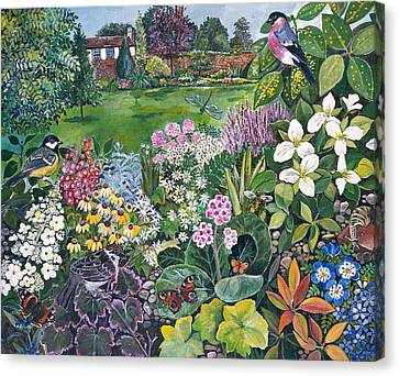 The Garden With Birds And Butterflies Canvas Print by Hilary Jones