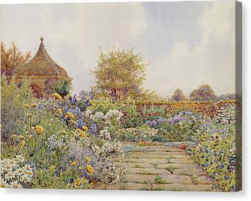 Summer Flowers Canvas Print - The Gardens At Chequers Court by Ernest Arthur Rowe