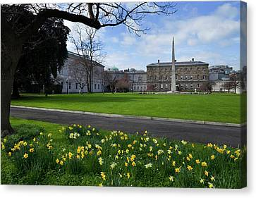Dublin Building Colors Canvas Print - The Gardens At The Rear Of Leinster by Panoramic Images