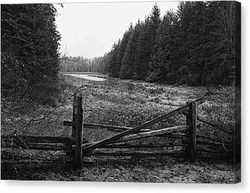 The Gate In Black And White Canvas Print by Lawrence Christopher
