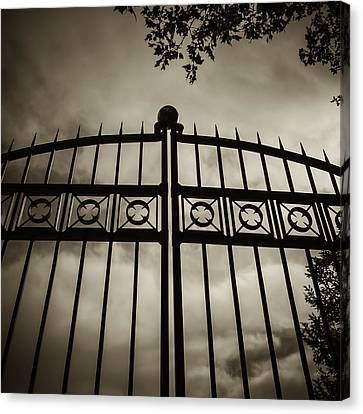 Canvas Print featuring the photograph The Gate In Sepia by Steven Milner