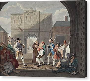 The Gate Of Calais, Or O The Roast Beef Canvas Print by William Hogarth