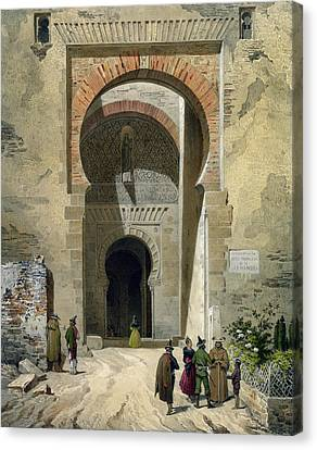 Alhambra Canvas Print - The Gate Of Justice by Leon Auguste Asselineau