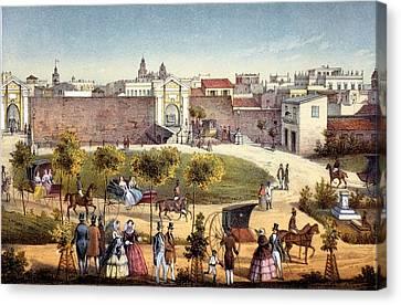 The Gates Of Monseratte, Havana, Cuba Canvas Print by Federico Mialhe