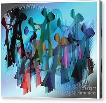 Canvas Print featuring the digital art The Gathering by Iris Gelbart