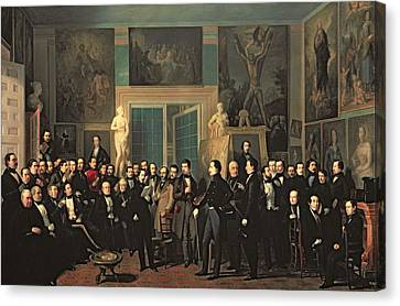 Statue Portrait Canvas Print - The Gathering Of The Poets, 1846 Oil On Canvas by Antonio Maria Esquivel