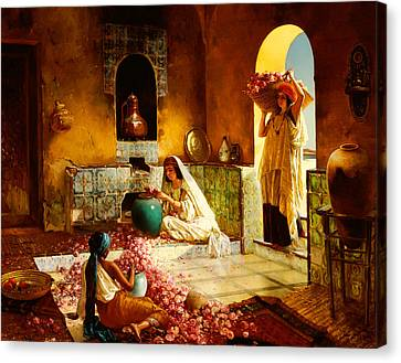 Muslims Canvas Print - The Gathering Of The Roses by Rudolphe Ernst