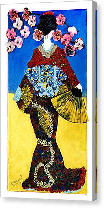 Canvas Print featuring the tapestry - textile The Geisha by Apanaki Temitayo M