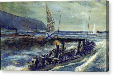 The German U-boat U 56 Sunk By The Russian Destroyer Grozovoi In The Barents Sea On The 20th Canvas Print by Mikhail Mikhailovich Semyonov