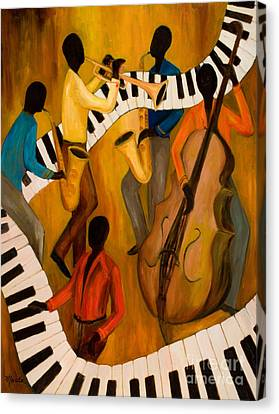 The Get-down Jazz Quintet Canvas Print by Larry Martin