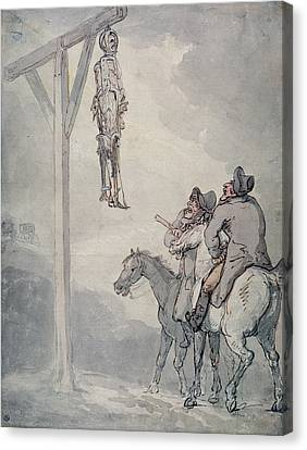 Punishment Canvas Print - The Gibbet Pen & Ink And Wc On Paper by Thomas Rowlandson