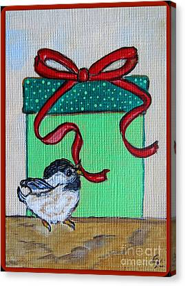 The Gift - Christmas Chickadee Whimsical Painting By Ella Canvas Print by Ella Kaye Dickey