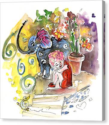 Toy Shop Canvas Print - The Girl And The Elephant And The Bird From Velez Rubio by Miki De Goodaboom