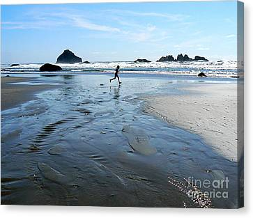 the Girl and the Ocean Canvas Print by Dona  Dugay