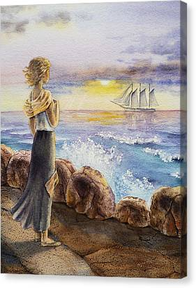 Setting Canvas Print - The Girl And The Ocean by Irina Sztukowski