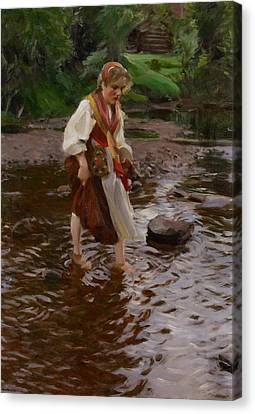 The Girl From Alvdalen Canvas Print by Anders Leonard Zorn