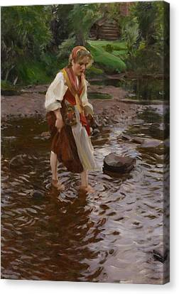 The Girl From Alvdalen Canvas Print by Anders Zorn