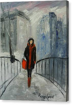 The Girl In Black Canvas Print by Maria Karalyos