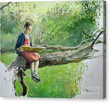 The Girl With Book Canvas Print by Eugene Maksim