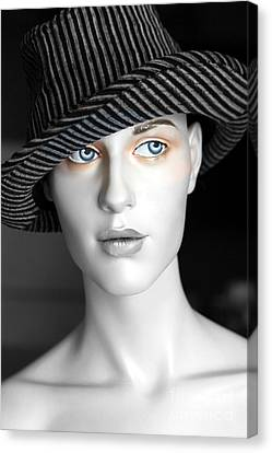 The Girl With The Fedora Hat Canvas Print by Sophie Vigneault