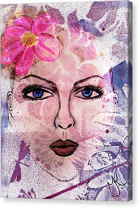 Fuschia Canvas Print - The Girl With The Flower In Her Hair by Malinda Kopec