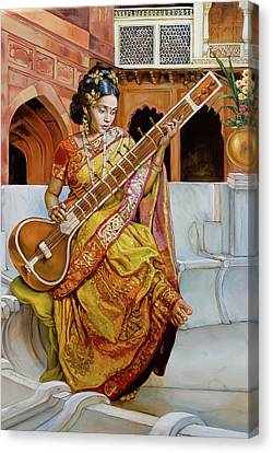Fine Art India Canvas Print - The Girl With The Sitar by Dominique Amendola