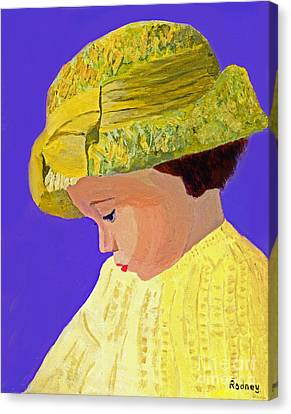 Canvas Print featuring the painting The Girl With The Straw Hat by Rodney Campbell