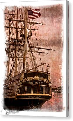 The Gleaming Hull Of The Hms Bounty Canvas Print by Debra and Dave Vanderlaan