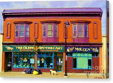 The Glebe Apothecary Pharmacy And Mckeen Deli Bank Street Paintings Of Ottawa Scenes Carole Spandau  Canvas Print by Carole Spandau