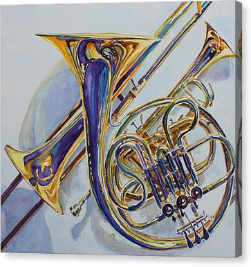 Jazzy Canvas Print - The Glow Of Brass by Jenny Armitage