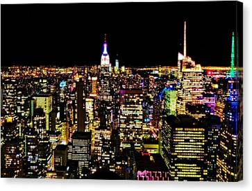 The Glow Of The New York City Skyline Canvas Print by Dan Sproul