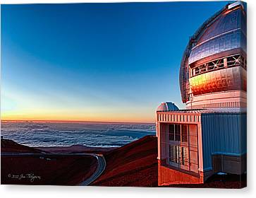 Canvas Print featuring the photograph The Glow Of The Warm Sunset Reflecting Off Of The Gemini 8.1m Op by Jim Thompson