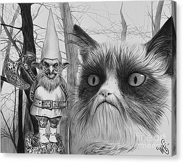 The Gnome And The Cat Canvas Print by Wave