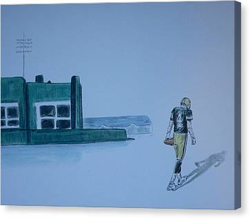 Canvas Print featuring the painting The Gold Has Left Green Bay by Dan Wagner