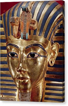The Gold Mask, From The Treasure Of Tutankhamun C.1370-52 Bc C.1340 Bc Gold Inlaid Canvas Print by Egyptian 18th Dynasty
