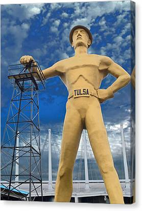 Silver Turquoise Canvas Print - The Golden Driller - Tulsa Oklahoma by Deena Stoddard