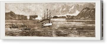 The Golden Gate, San Francisco H.m.s. Comus Leaving Canvas Print by Litz Collection