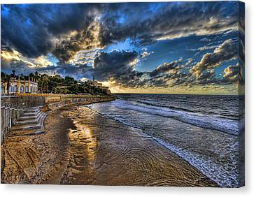Canvas Print featuring the photograph the golden hour during sunset at Israel by Ronsho