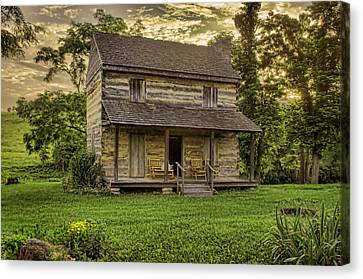 Log Cabin Canvas Print - The Golden Hour by Heather Applegate